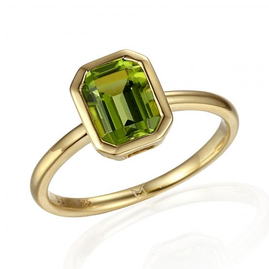 Gems, PRSTEN NAOMI, ŽLUTÉ ZLATO A PERIDOT (OLIVÍN)