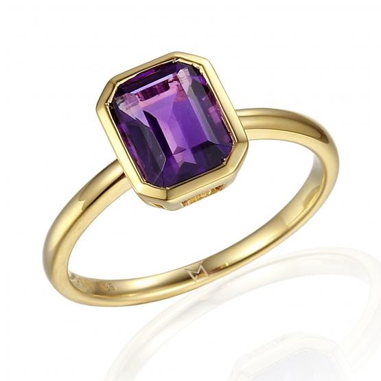 Prsten Naomi, žluté zlato a fialový ametyst