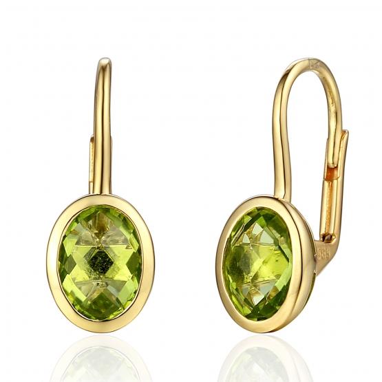 Gems, Originální náušnice Devon, žluté zlato a peridoty (olivíny)