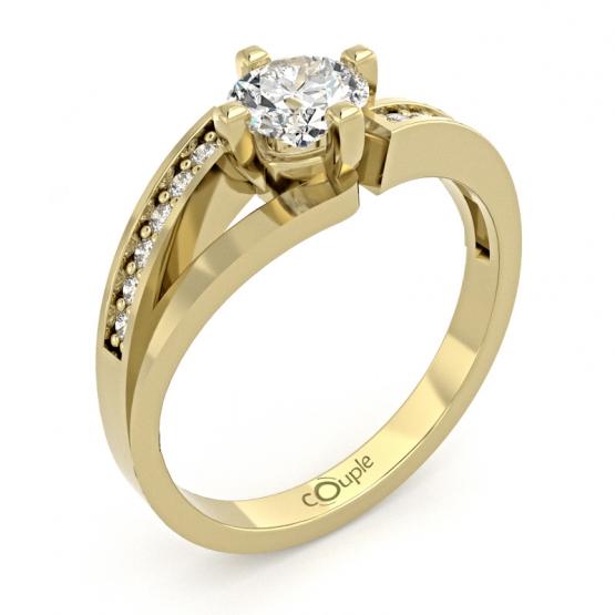 Couple, Zajímavý prsten Tilde, žluté zlato se zirkony