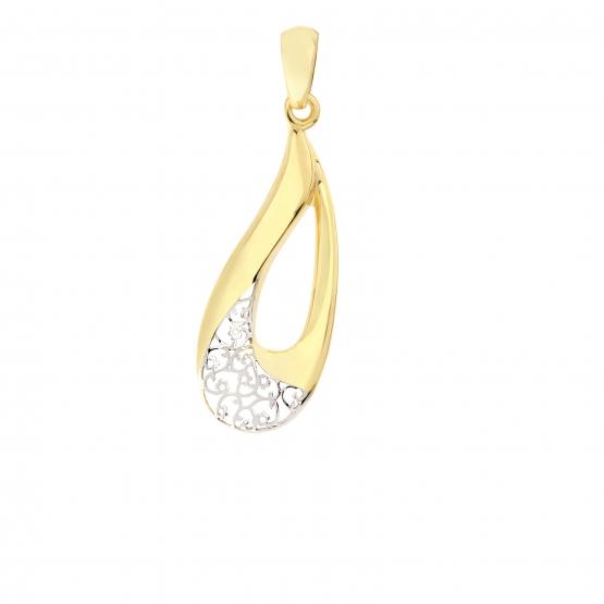 Luxur, Zajímavý přívěsek Droplet z kombinace bílého a žlutého zlata