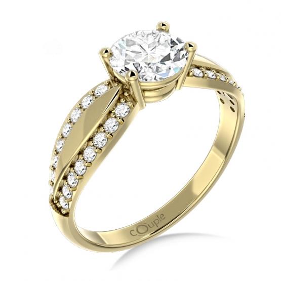 Oslnivý prsten Gemima, žluté zlato se zirkony