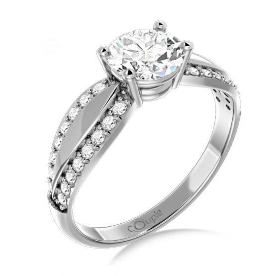 Couple, Oslnivý prsten Gemima, bílé zlato se zirkony