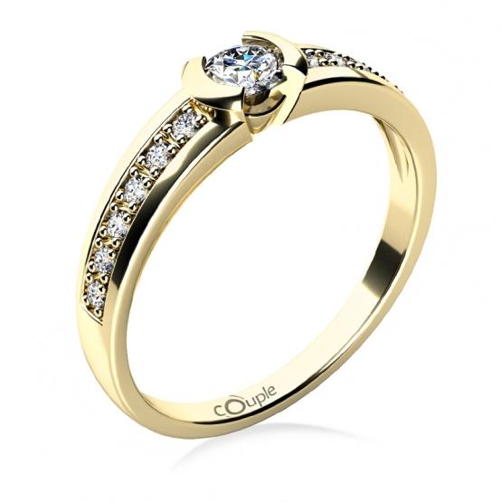 Zásnubní prsten Marylin ze žlutého zlata a zirkonů