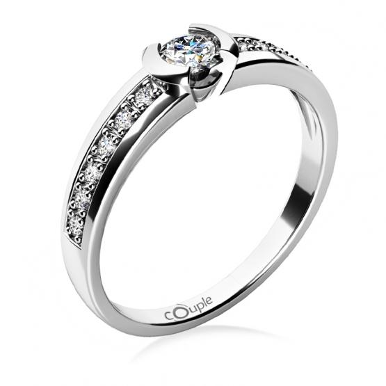 Zásnubní prsten Marylin z bílého zlata a zirkonů
