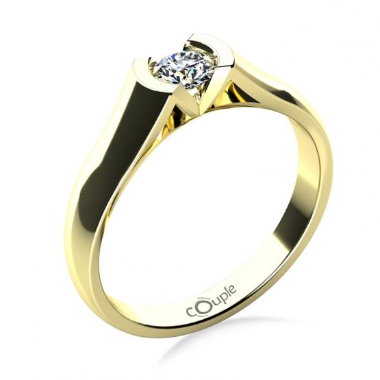 Zásnubní prsten Paige, žluté zlato se zirkonem