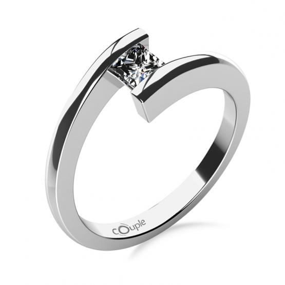 Zásnubní prsten Luise, bílé zlato se zirkonem