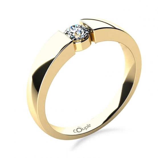 Minimalistický zásnubní prsten Donna ve žlutém zlatě