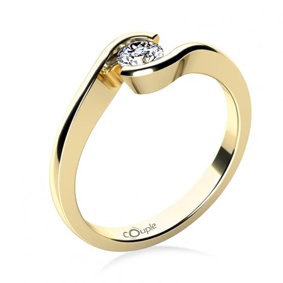 Zásnubní prsten Linette, žluté zlato a velký zirkon