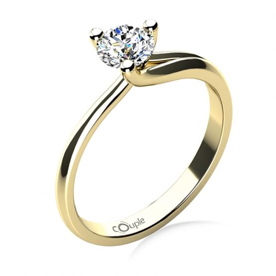 Okouzlující zásnubní prsten Mai, žluté zlato a velký zirkon