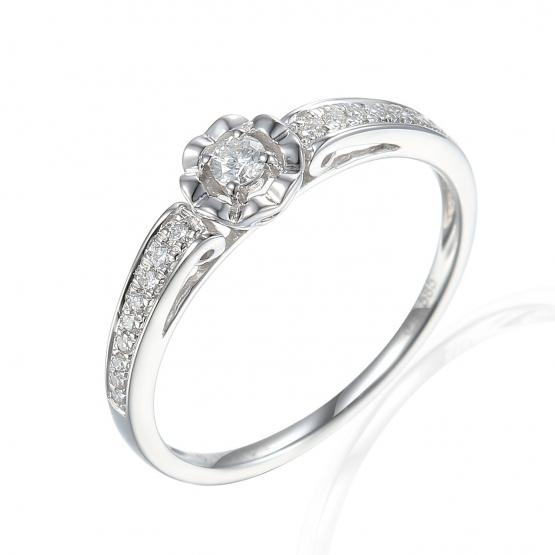 Zajímavý prsten Primrose, bílé zlato s brilianty