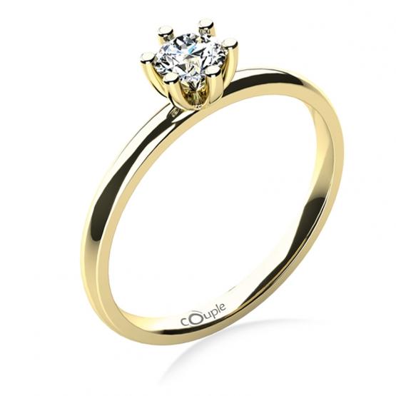 Zásnubní prsten Zoel, žluté zlato a velký zirkon
