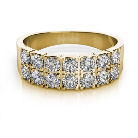 Couple, Moderní prsten Aki, žluté zlato se zirkony