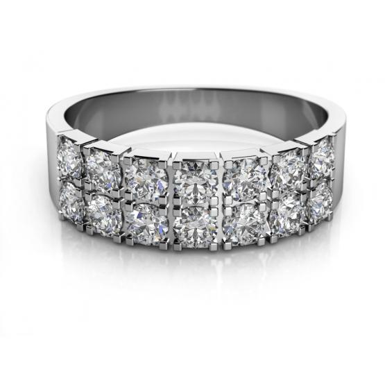 Moderní prsten Aki, bílé zlato se zirkony