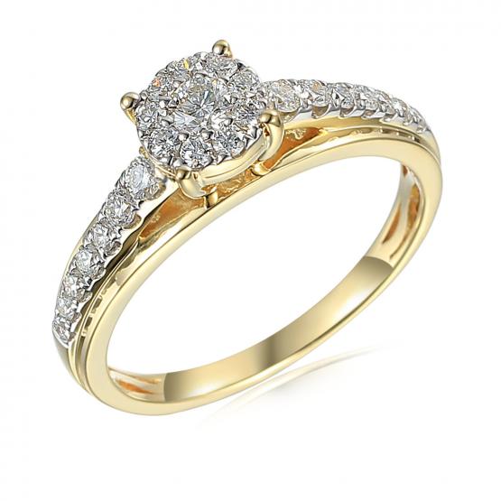 Honosný zásnubní prsten Serenity, kombinované zlato s brilianty