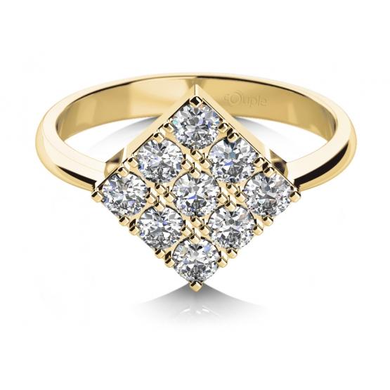 Zajímavý prsten Mia, žluté zlato se zirkony