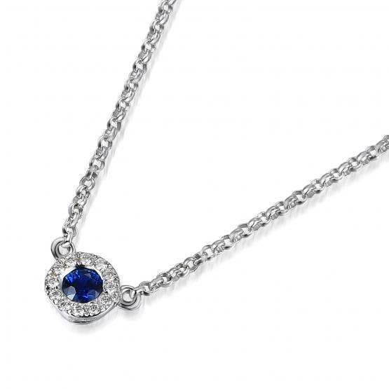 Luxusní náhrdelník Cleo, bílé zlato, brilianty a safír