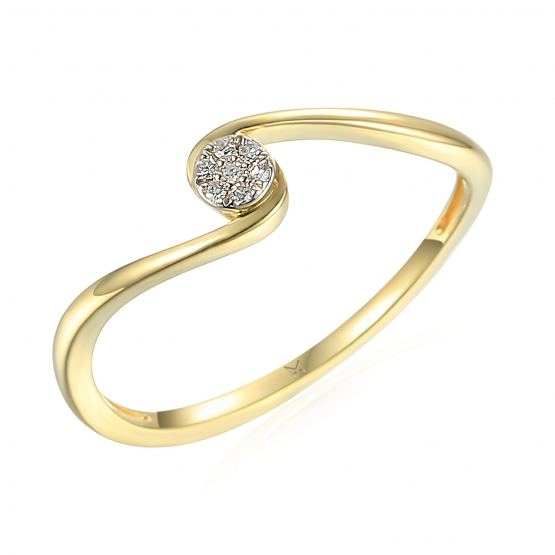Diamantový prsten Ruby, žluté a bílé zlato