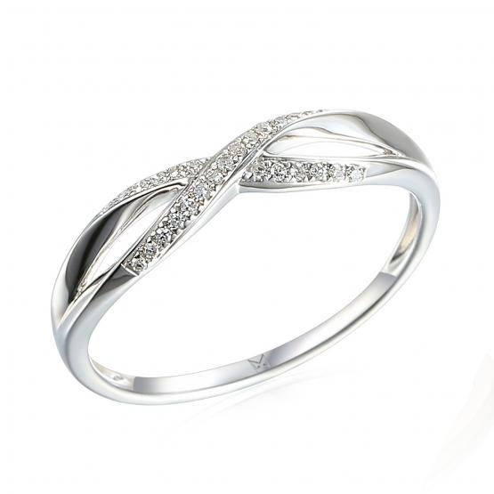 Gems, Půvabný prsten Lily, bílé zlato a brilianty