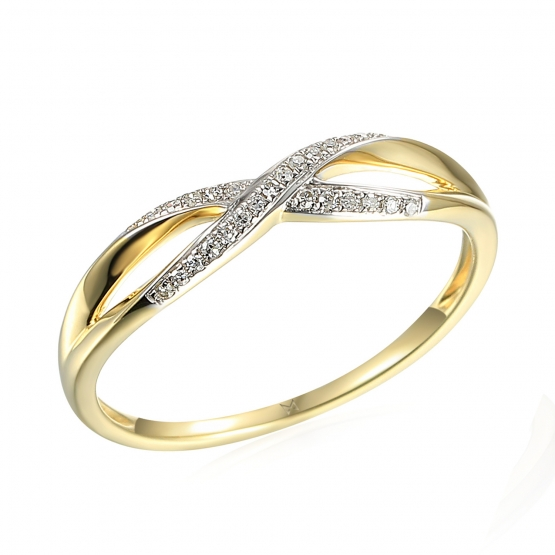 Půvabný prsten Lily, žluté zlato a brilianty