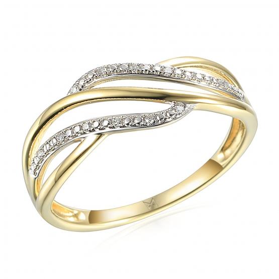 Elegantní diamantový prsten Caroline, žluté zlato a brilianty