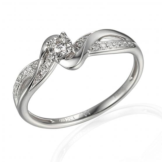 Zajímavý diamantový prsten Zaira, bílé zlato