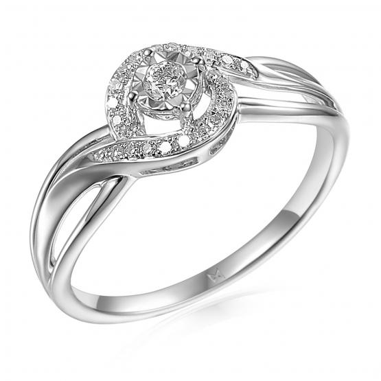 Půvabný diamantový prsten Sirah, bílé zlato