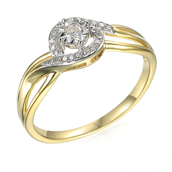 Půvabný diamantový prsten Sirah, žluté a bílé zlato