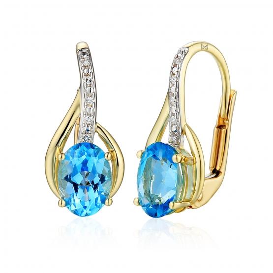 Diamantové náušnice Monroe, žluté zlato s brilianty a modrými topazy