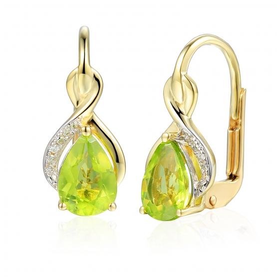 Zářivé náušnice Merida, kombinované zlato s brilianty a peridoty (olivíny)