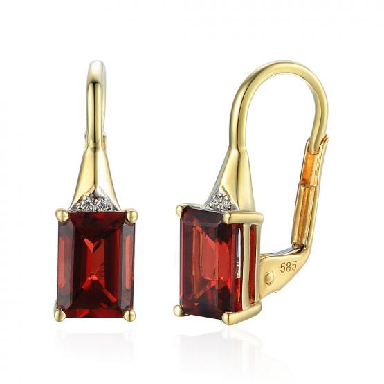 Klasické náušnice Clementine, kombinované zlato s brilianty a granáty