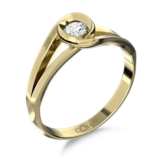 Couple, Unikátní prsten Pauline, žluté zlato se zirkonem