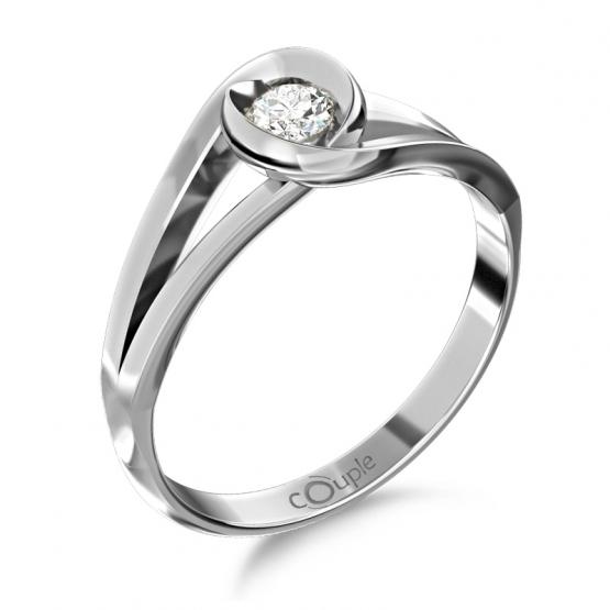 Unikátní prsten Pauline, bílé zlato se zirkonem