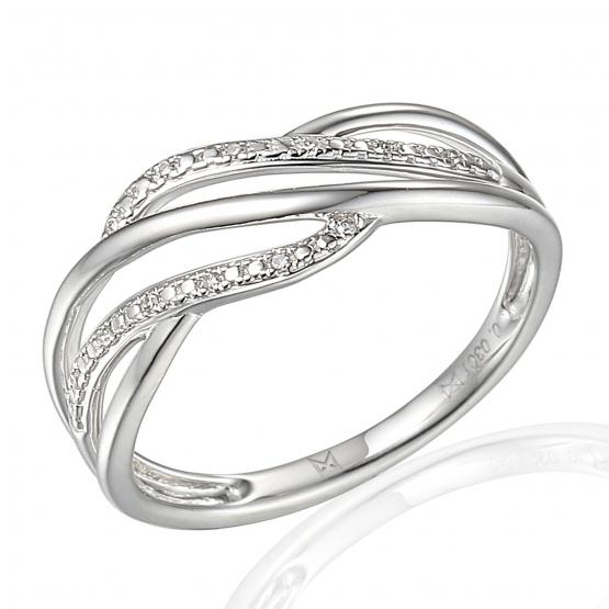 Elegantní diamantový prsten Caroline, bílé zlato a brilianty