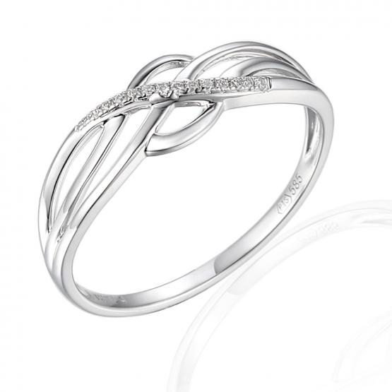 Vkusný prsten Gianna, bílé zlato s brilianty