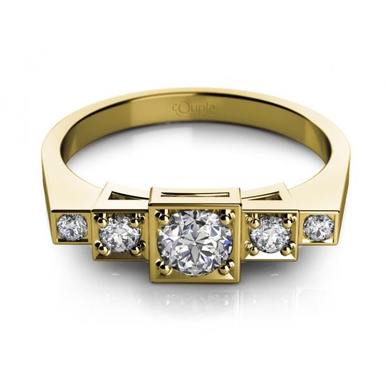 Originální prsten Liam, žluté zlato se zirkony