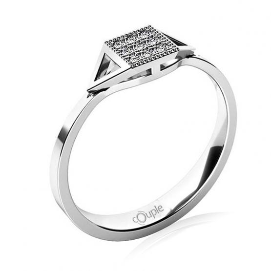 Originální prsten Kostka, bílé zlato se zirkony