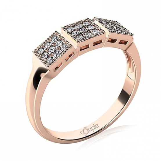 Originální prsten Kostka, růžové zlato se zirkony