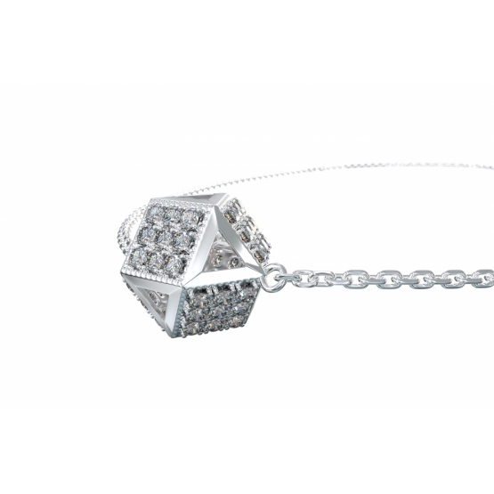 Originální náhrdelník Kostka, bílé zlato se zirkony