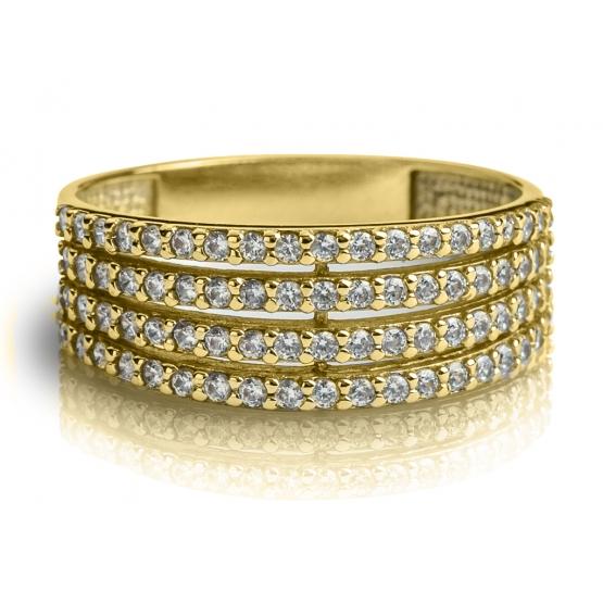 Elegantní prsten Maylo, žluté zlato se zirkony