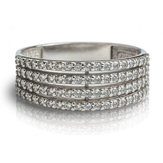 Elegantní prsten Maylo, bílé zlato se zirkony