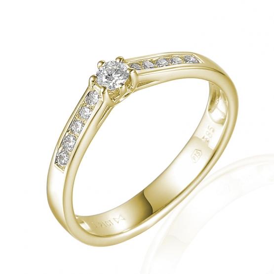 Gems, Elegantní zásnubní prsten Addison, žluté zlato s brilianty