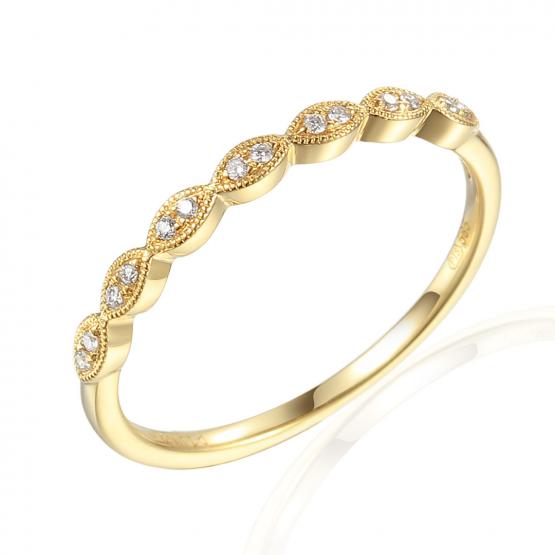 Gems, Elegantní prsten Heather, žluté zlato brilianty