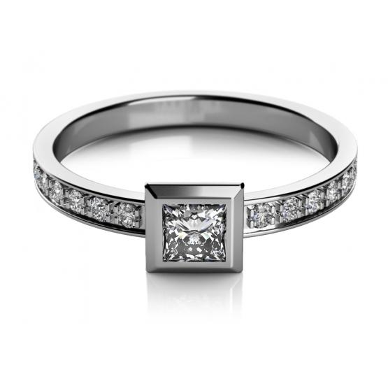 Zajímavý prsten Debie z bílého zlata
