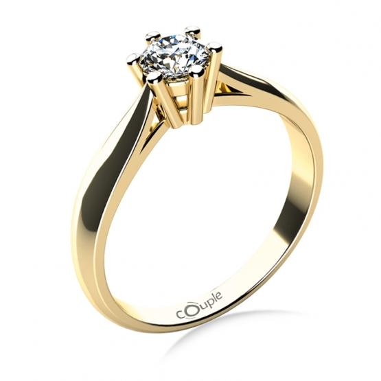 Zásnubní prsten Aimee, žluté zlato a velký briliant