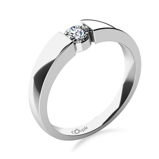 Couple, Briliantový zásnubní prsten Donna v bílém zlatě