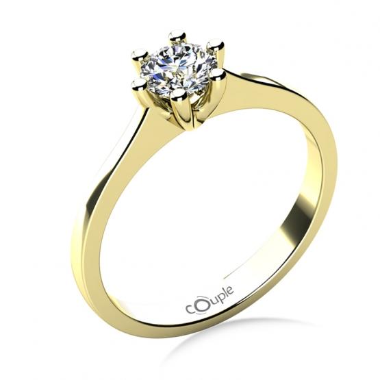 Couple, Oblíbený zásnubní prsten Layla, žluté zlato a výrazný briliant