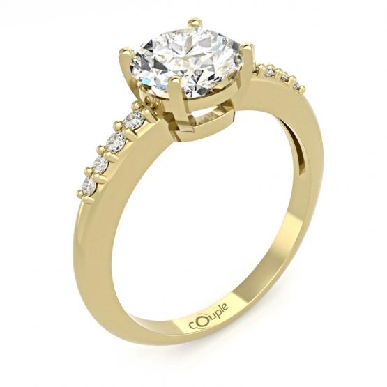 Elegantní prsten Joyce, žluté zlato se zirkony