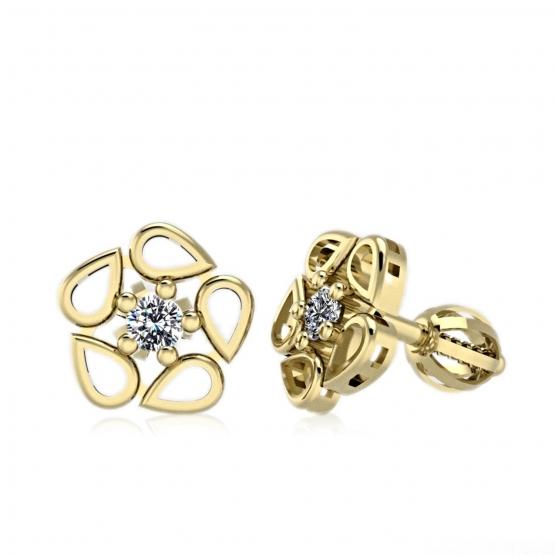 Couple, Náušnice Mani, žluté zlato se zirkony