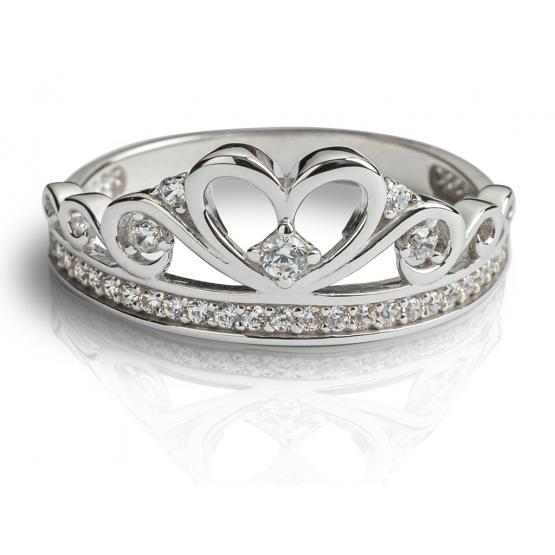 Zajímavý prsten Delphine, bílé zlato se zirkony